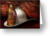 Fire Hose Greeting Cards - Fireman - The fire chief Greeting Card by Mike Savad