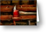 Leatherhead Greeting Cards - Fireman - The Firemans Axe Greeting Card by Mike Savad