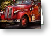 Fire Hose Greeting Cards - Fireman - The Garwood fire dept Greeting Card by Mike Savad