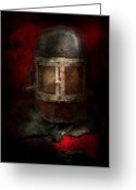 Fire Hose Greeting Cards - Fireman - The Mask Greeting Card by Mike Savad