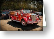 Leatherhead Greeting Cards - Fireman - The Procession  Greeting Card by Mike Savad