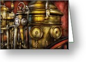 Leatherhead Greeting Cards - Fireman - The Steam Boiler  Greeting Card by Mike Savad