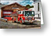 Leatherhead Greeting Cards - Fireman - Union Fire Company 1  Greeting Card by Mike Savad