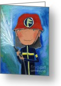 Childsroom Greeting Cards - Fireman Greeting Card by Sonja Mengkowski