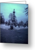 Rochester Ny Greeting Cards - Firemans Monument Infrared Greeting Card by Joshua House