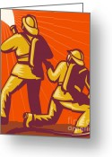 Uniform Greeting Cards - Firemen Aiming A Fire Hose Greeting Card by Aloysius Patrimonio