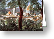 Hills Greeting Cards - Firenze Greeting Card by Guido Borelli