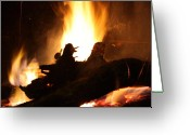 Fireplace Greeting Cards - Fireplace Ii Greeting Card by Ginger Barritt