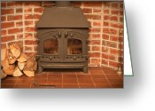 Coal Burner Greeting Cards - Fireplace Greeting Card by Tom Gowanlock