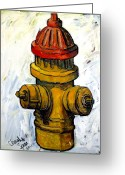 Pull Greeting Cards - Fireplug Greeting Card by Charlie Spear