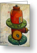 Contrasts Greeting Cards Greeting Cards - Fireplug Iii Greeting Card by Charlie Spear