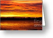 Stock Greeting Cards - Firery Sunset Sky Greeting Card by John Buxton