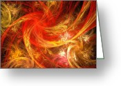 Modern Framed Prints Greeting Cards - Firestorm Greeting Card by Oni H