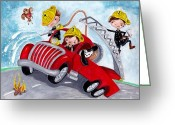 Firetruck Greeting Cards - Firetruck Greeting Card by Caroline Bonne-Muller