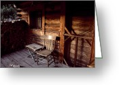 Log Cabins Photo Greeting Cards - Firewood And A Chair On The Porch Greeting Card by Joel Sartore