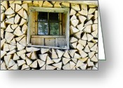 Cabin Window Greeting Cards - Firewood Greeting Card by Frank Tschakert