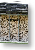 Sheds Greeting Cards - Firewood stack Greeting Card by Frank Tschakert