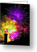 Finale Greeting Cards - Fireworks - Over the Rooftop 1 Greeting Card by Steve Ohlsen
