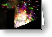 Finale Greeting Cards - Fireworks - Over the Rooftop 2 Greeting Card by Steve Ohlsen