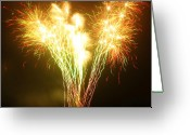 Chic Greeting Cards - Fireworks 2 Greeting Card by Oliver Johnston