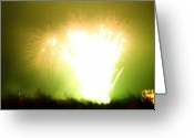 Chic Greeting Cards - Fireworks 3 Greeting Card by Oliver Johnston