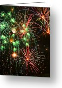 Night Time Greeting Cards - Fireworks 4th of July Greeting Card by Garry Gay