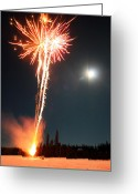 Pyrotechnics Greeting Cards - Fireworks And Moon Greeting Card by Wyatt Rivard