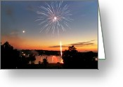 Scottsville Greeting Cards - Fireworks and Sunset Greeting Card by Amber Flowers