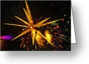 Pyrotechnics Digital Art Greeting Cards - Fireworks As I See Them  3 Greeting Card by F Leblanc