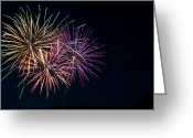 Fire Works Greeting Cards - Fireworks at Pitt Meadows day Greeting Card by Ivan SABO