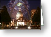 Marty Koch Glass Art Greeting Cards - Fireworks at the Arch 1 Greeting Card by Marty Koch
