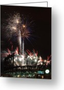 Illuminations Greeting Cards - Fireworks at the Field Greeting Card by Kevin Munro