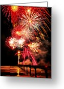 Pyrotechnics Digital Art Greeting Cards - Fireworks Away Greeting Card by Steve Taylor