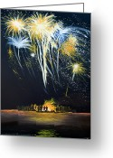 Fireworks Painting Greeting Cards - Fireworks Bonfire on the West bar Greeting Card by Charles Harden