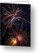 4th Photo Greeting Cards - Fireworks Celebration  Greeting Card by Garry Gay