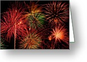 Fire Works Pyrography Greeting Cards - Fireworks Greeting Card by Erik Watts