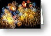 Fire Photo Greeting Cards - Fireworks Exploding  Greeting Card by Garry Gay