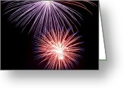 Pyrotechnics Greeting Cards - Fireworks II Greeting Card by Malania Hammer