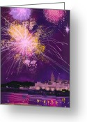 Fireworks Painting Greeting Cards - Fireworks in Malta Greeting Card by Angss McBride