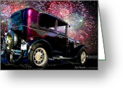Fireworks Painting Greeting Cards - Fireworks In The Ford Greeting Card by Suni Roveto