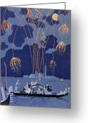 Fireworks Painting Greeting Cards - Fireworks in Venice Greeting Card by Georges Barbier