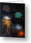 Fireworks Painting Greeting Cards - Fireworks Greeting Card by Julia Collard