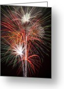 4th July Greeting Cards - Fireworks light up the night Greeting Card by Garry Gay