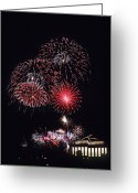 Lincoln Memorial Photo Greeting Cards - Fireworks Light Up The Night Sky Greeting Card by Stocktrek Images