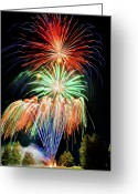 4th July Greeting Cards - Fireworks no.1 Greeting Card by Niels Nielsen