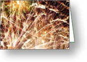 Chic Greeting Cards - Fireworks Greeting Card by Oliver Johnston