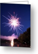 4th July Greeting Cards - Fireworks one Greeting Card by Ty Helbach