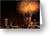 Pyrotechnics Greeting Cards - Fireworks over Charlotte Greeting Card by Patrick Schneider