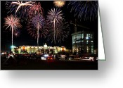 4th July Greeting Cards - Fireworks Over Firelake Greeting Card by Ricky Barnard