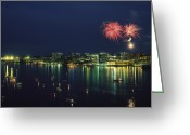 City Lights And Lighting Greeting Cards - Fireworks Over Halifax Harbor Celebrate Greeting Card by James P. Blair